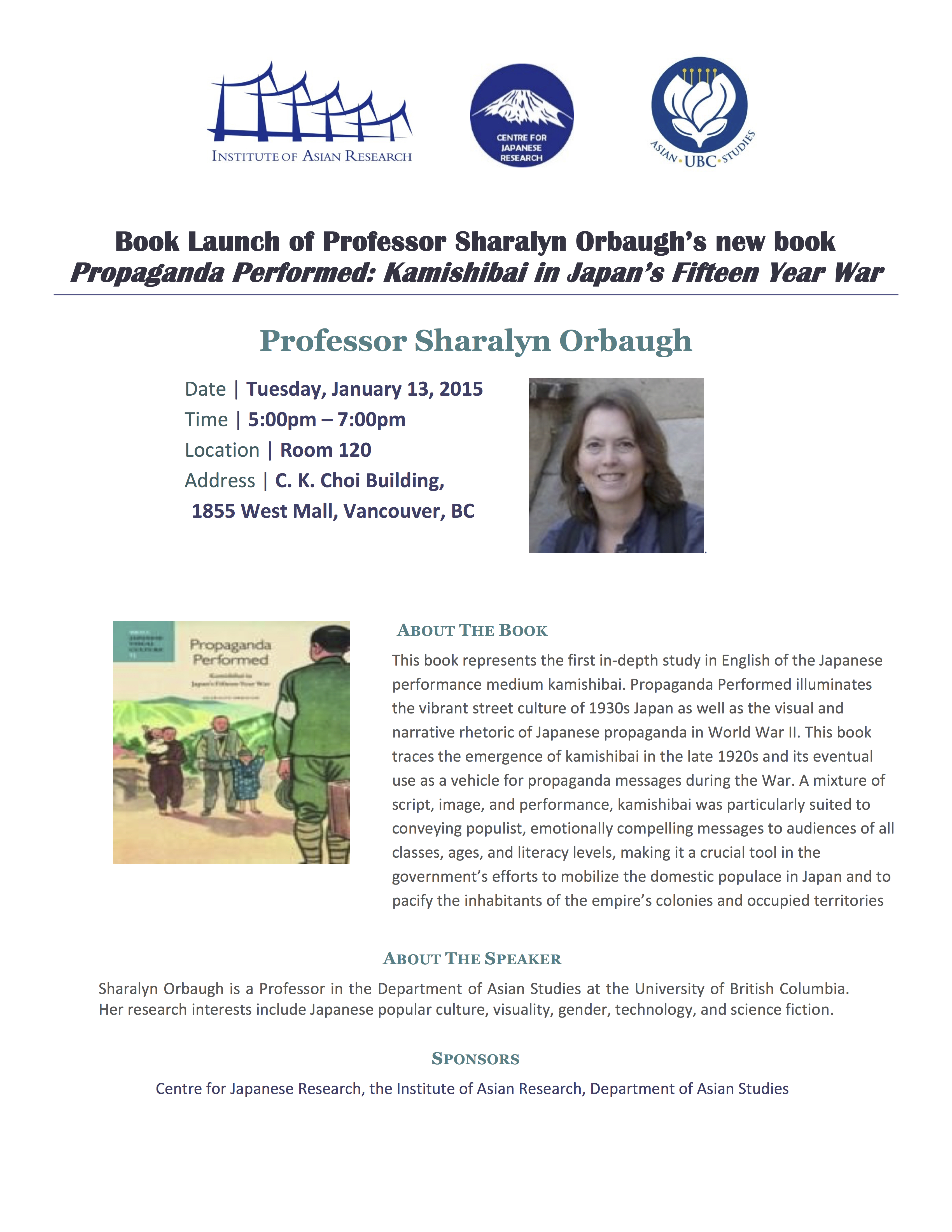 Book launch of Professor Sharalyn Orbaugh Poster